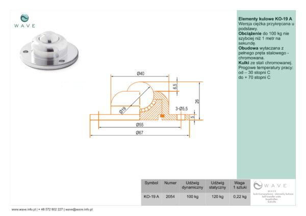 Kula transportowa element kulowy KO 19 A 100 specyfikacja II