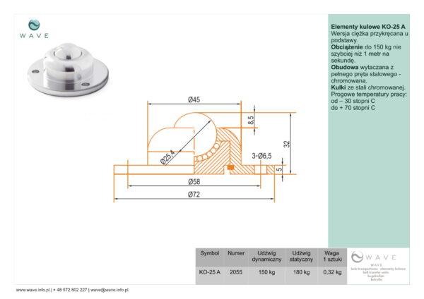 Kula transportowa element kulowy KO 25 A 150 specyfikacja II
