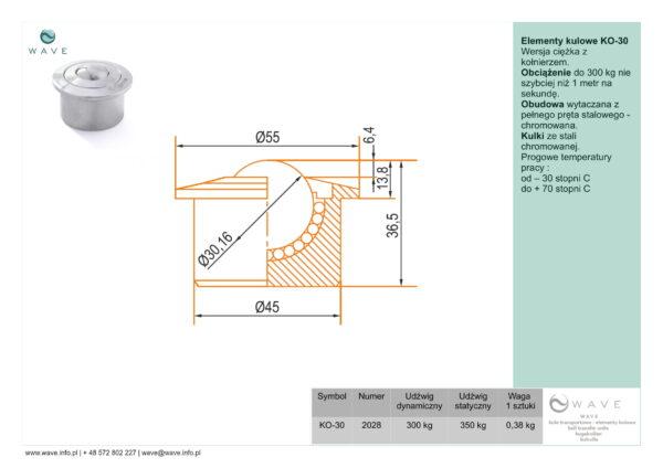 Kula transportowa element kulowy KO 30 300 specyfikacja II