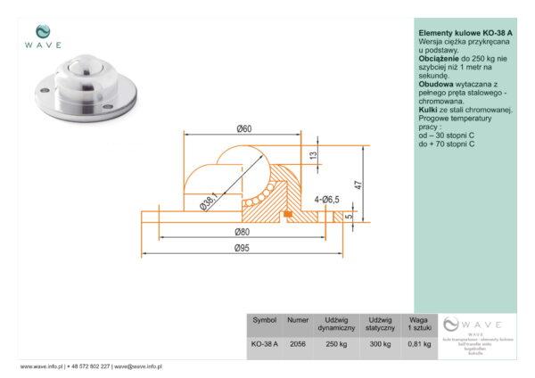 Kula transportowa element kulowy KO 38 A 250 specyfikacja II