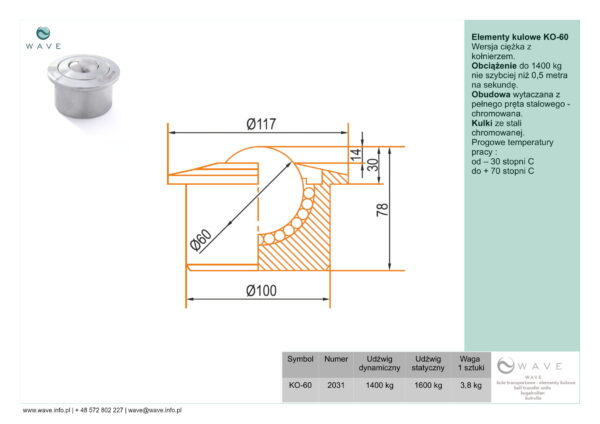 Kula transportowa element kulowy KO 60 1400 specyfikacja II