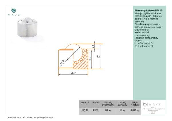 Kula transportowa element kulowy KP 12 30 specyfikacja II