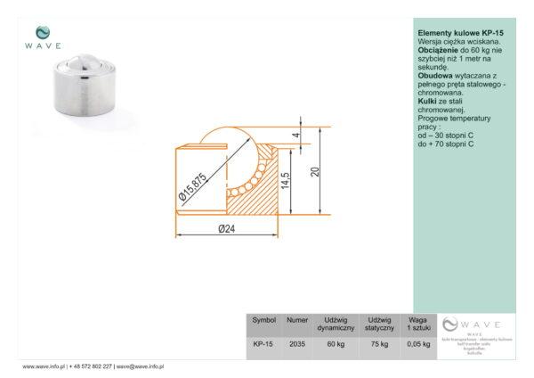 Kula transportowa element kulowy KP 15 60 specyfikacja II