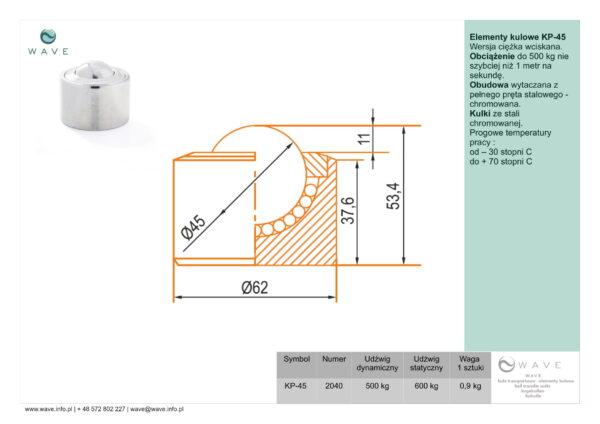 Kula transportowa element kulowy KP 45 500 specyfikacja II