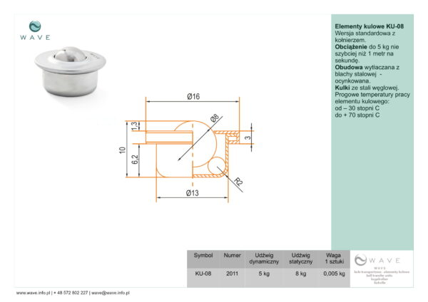 Kula transportowa element kulowy KU 08 5 specyfikacja II