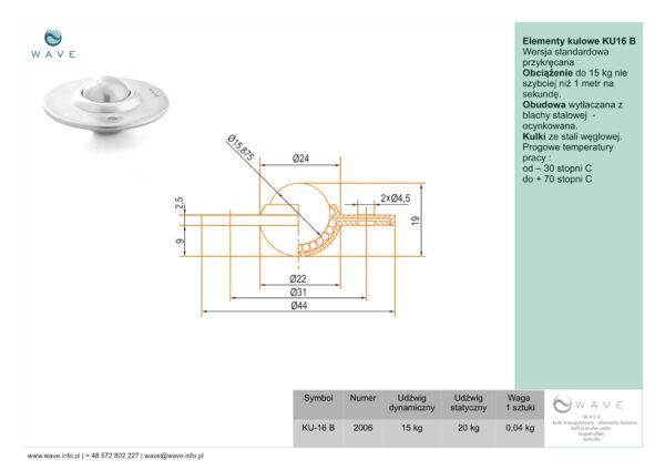 Kula transportowa element kulowy KU 16 B 15 specyfikacja II