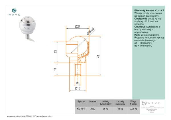 Kula transportowa element kulowy KU 19 T 25 specyfikacja II