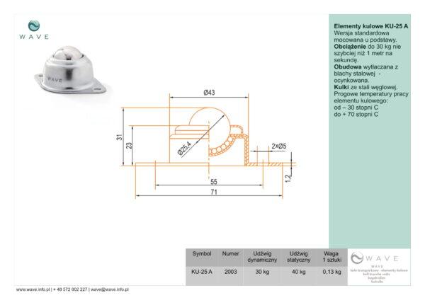 Kula transportowa element kulowy KU 25 A 30 specyfikacja II