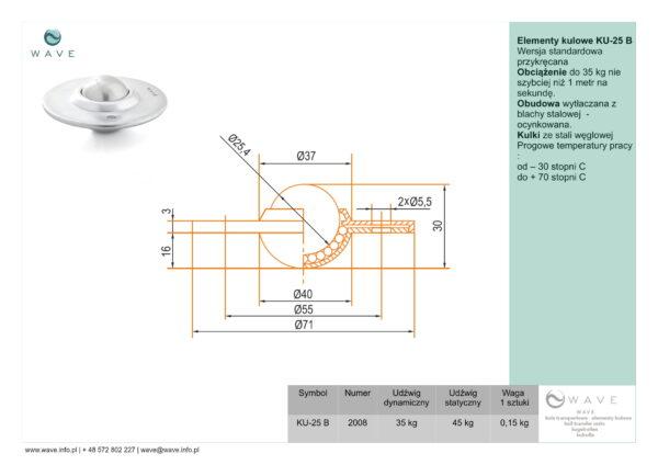 Kula transportowa element kulowy KU 25 B 35 specyfikacja II