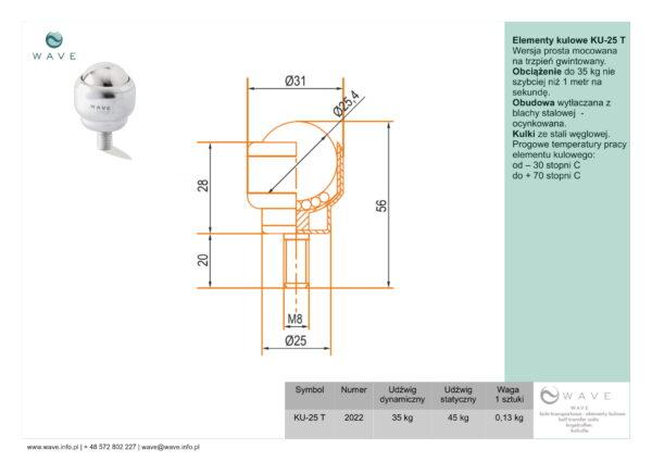 Kula transportowa element kulowy KU 25 T 35 specyfikacja II