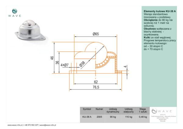 Kula transportowa element kulowy KU 38 A 90 specyfikacja II