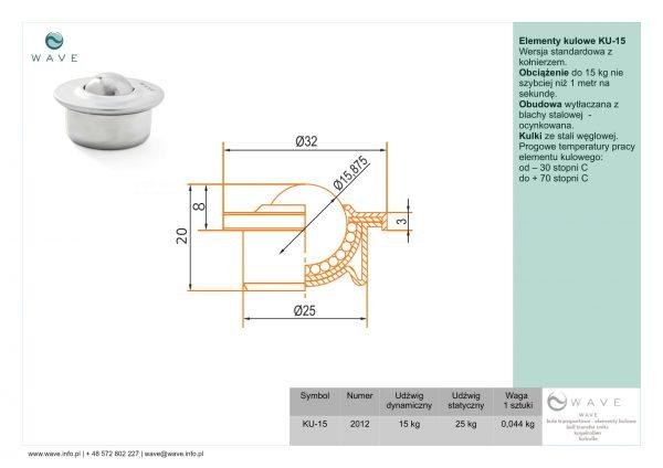 Kula transportowa element kulowy KU 15 15 specyfikacja II