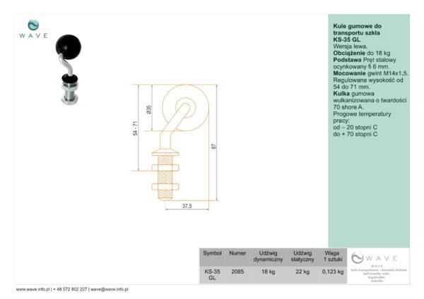 Kule gumowe do transportu szkła KS-35 GL specyfikacja II