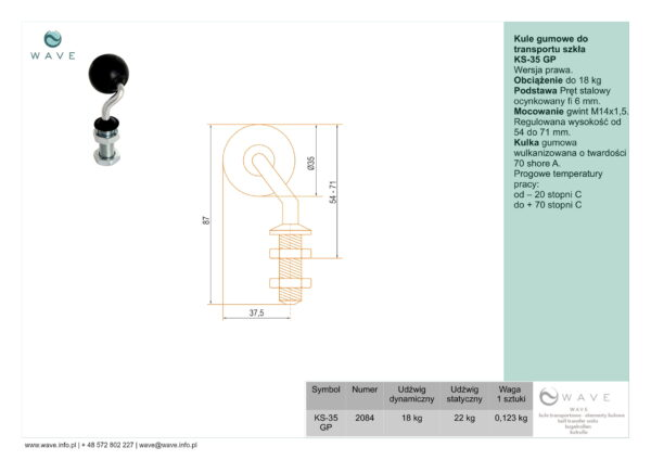 Kule gumowe do transportu szkła KS-35 GP specyfikacja II