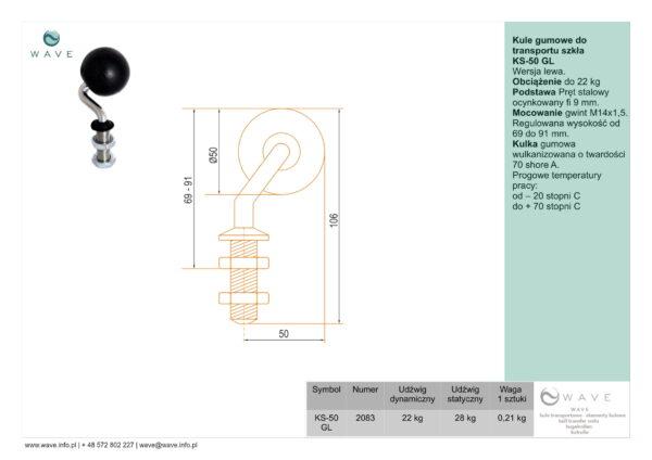 Kule gumowe do transportu szkła KS-50 GL specyfikacja II